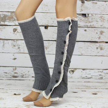 Gray Chunky Knitted Leg Warmers Leg Warmers with Button Boot Topper Christmas Gift Soft Knitted Socks Woman Fashion Winter Accessory