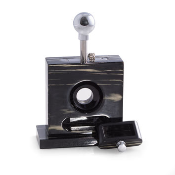 Stainless Steel Table Top Guillotine Cigar Cutter in Ebony Wood