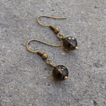Positivity, Genuine Smokey Quartz Gemstone Earrings