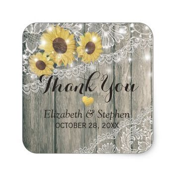 Wood Sunflower Lace String light Wedding Thank You Square Sticker