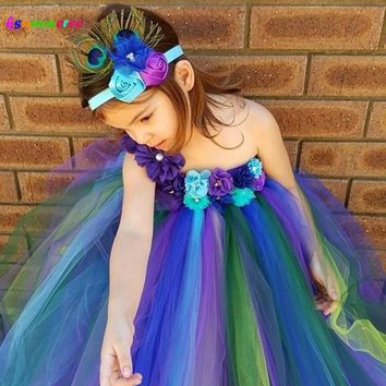 Elegant Peacock Tutu Dress and Flower Headband Girls Baby Peacock Wedding Tutu Dress Kids Birthday Party Costume TS117