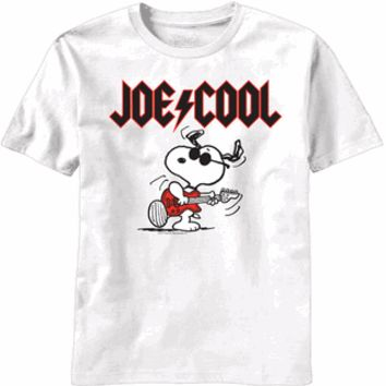 Peanuts Snoopy Joe Cool Rock AC/DC Logo White Mens T-Shirt