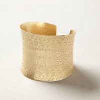 Etched Memento Cuff by Anthropologie in Gold Size: One Size Bracelets