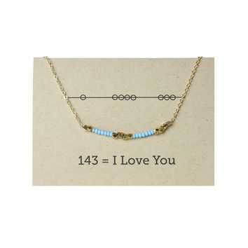 I Love You - Secret Code Friendship  Necklace  143 - Blue