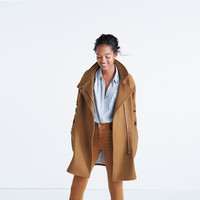 City Grid Coat in Burnished Cedar