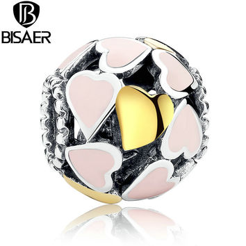 BISAER Gift Love Pink Enamel Authentic Beads Fit Pandora Bracelet Charm Gold Heart Charms Sterling Silver Beads 925 Original