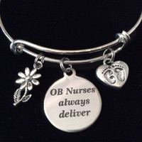 OB Nurses Always Deliver Baby Feet Silver Expandable Charm Bracelet Adjustable Bangle RN Medical Gift