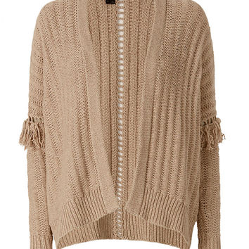360 SWEATER Brett Fringe Sleeve Knit Throw at INTERMIX | Shop Now | Shop IntermixOnline.com