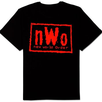 Adult Men's WCW Wrestling NWO New World Order Red Ink Wolfpac Black T Shirt