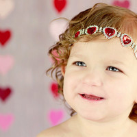 Red Heart Headband, Valentines Day Headband, Rhinestone Connector, Newborn Photo Prop, Rhinestone Headband, Red Baby Headband, Teen Headband
