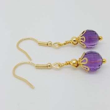 Amethyst 18k Gold Plated February Lavender Birthstone Earrings