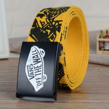 PEAPUF3 VANS' Men and women leisure belt han edition automatically canvas woven belt Yellow