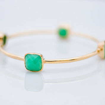 Bangle - Chrysoprase Bracelet - Gemstone Bangles - Bezel Set Bangles - Gold Bracelets