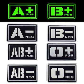 REEBOW TACTICAL 2X BLACK Noctilucent Luminous PVC Blood Type Patches A B O AB POS NEG Military Camping First Aid Morale Patches