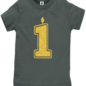 Baby Girl 1st Birthday Shirt - 1 Gold Glitter Flake Outfits