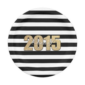 Class of 2015 Gold Glitter Black Stripe Graduation 7 Inch Paper Plate