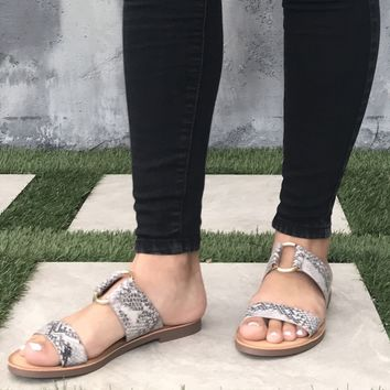 Addison Slip On Slide Sandals In Snakeskin