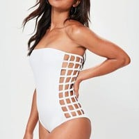 Missguided - White Laser Cut Bandeau Swimsuit