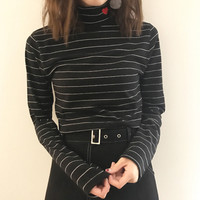 Sweet Heart Embroidery Striped High Neck Top
