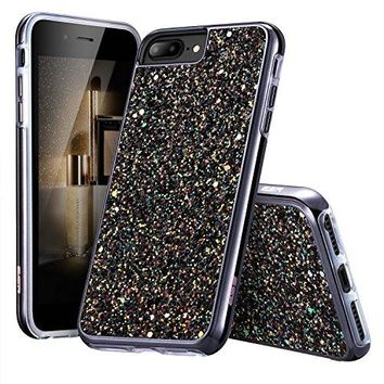 "iPhone 7 Plus Case,iPhone 6 Plus/6s Plus Case, ESR Bling Glitter Sparkle Dual Layer Shockproof Hard PC Back + Soft TPU Inner Protective Shell Skin for Apple 5.5"" iPhone 7 Plus/6 Plus/6s Plus(Black)"