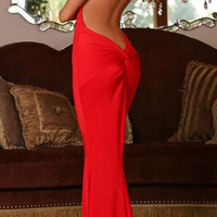 Red Spaghetti Strap Backless Mermiad Dress
