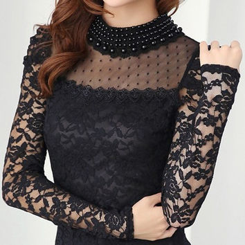 2016 New Fashion Women Shirts Support Spring pearl necklace crocheted lace blouse long sleeve shirts