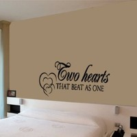 Housewares Vinyl Decal Two Hearts That Beat As One Love Phrase Home Wall Art Decor Removable Stylish Sticker Mural Unique Design for Any Room