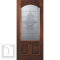 Slab Single Door 80 Mahogany Renaissance 2 Panel Arch Lite Glass