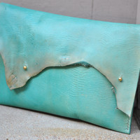 The GAGA - Turquoise Leather Clutch