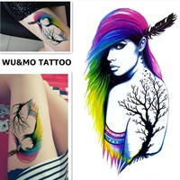WU&MO New Colorful Hair Indian Style Cool Lady Fake Flash Sexy Body Art Waterproof Temporary Tattoo Stickers For Man Woman