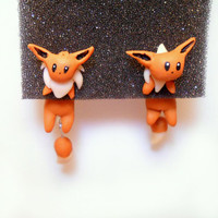 Eevee Clinging Earrings, Two Piece Earrings, Pokemon Earrings, Two Part Earrings, Cat Earrings, Eevee earring, Sterling silver 925