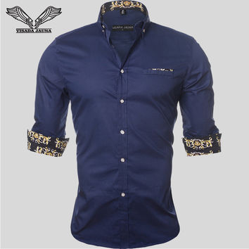 Men's Shirt Dress 2017New Arrivals Fashion Mens Shirts Casual Style Long Sleeve Solid 100%Cotton Slim Fit Dress Male Shirts N780