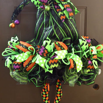 Halloween Wreath - Witch's Hat Wreath - Halloween Deco Mesh Wreath - Witch's Hat Deco Mesh Wreath - Halloween Mesh Wreath - RAZ Witch Wreath