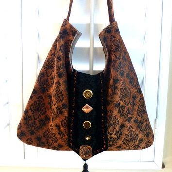 cross body, tapestry bag, hobo bag, boho bag, bohemian bag, gypsy bag, purse, tote, copper brown tapestry, fall fashion, COUPON