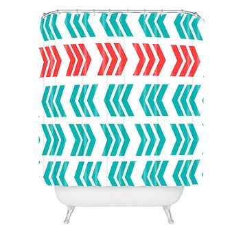 Lisa Argyropoulos Coral Pop and Aqua Zig Zag Shower Curtain