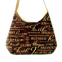 Brown and Gold Shoulder Bag - Blessed Jesus Salvation