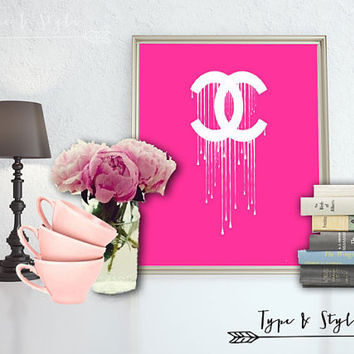 Dripping Chanel Logo Digital Download - Canvas - Poster - Print - Typography - wall art home decor - framed art - Pink and White- Chanel