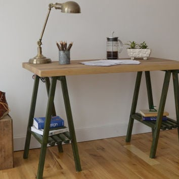Reclaimed Wood Desk with A Frame Legs - Oxidized top with Forrest Green Legs || Free Shipping || Baltimore, Recycle