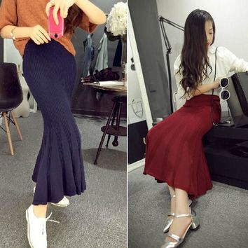 Knitting Wool Skirts Women Stretch Empire Waistline Ankle Length Long Maxi Skirt Autumn Winter Mermaid Skirt 2016 New Arrival