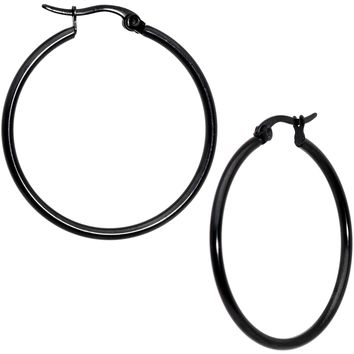 30mm Black Tone PVD Stainless Steel Hoop Earrings