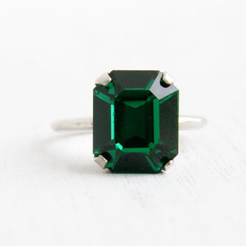 Vintage Art Deco Emerald Green Glass Stone Ring- Antique Size 6 1/2 1930s Sterling Silver Simulated Emerald Jewelry Hallmarked MH