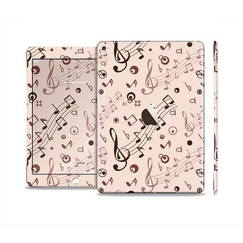 The Tan Music Note Pattern Skin Set for the Apple iPad Air 2