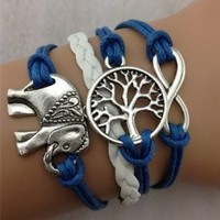 TOOPOOT Cute Handmade Charms Tree Elephant Knit Leather Rope Chain Bracelet Gift Free, Blue