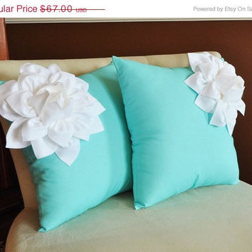 MOTHERS DAY SALE Two Decorative Pillows White Corner Dahlia on Aqua Blue Pillows -Aqua Blue Pillow- Decorative Pillows-