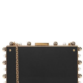 Lanvin Black embellished Perspex box clutch