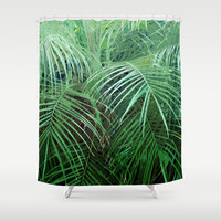 Jungle Palms 2 - Shower Curtain, Green Palm Tree Fronds Bath Decor, Beach Surf Style Vanity Bathroom Hanging Bath Tub Accent. In 71x74 Inch