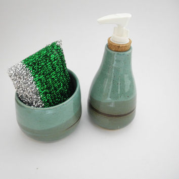 Soap Dispenser, Kitchen Sponge Holder, Kitchen Sink Set,  Handmade Ceramics - Teal and Turquoise Pottery
