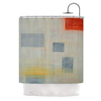"""Cathy Rodgers """"Map To Childhood"""" Gray Blue Shower Curtain"""