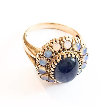 Opal Ring, Blue Sapphire Cabochon, Gold, Art Deco Vintage Jewelry SUMMER SALE