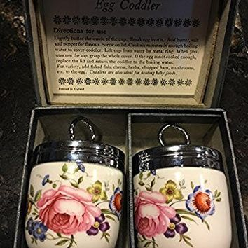 Royal Worcester Egg Coddler Pair Bournemouth Pattern Pink Roses Floral-Rare